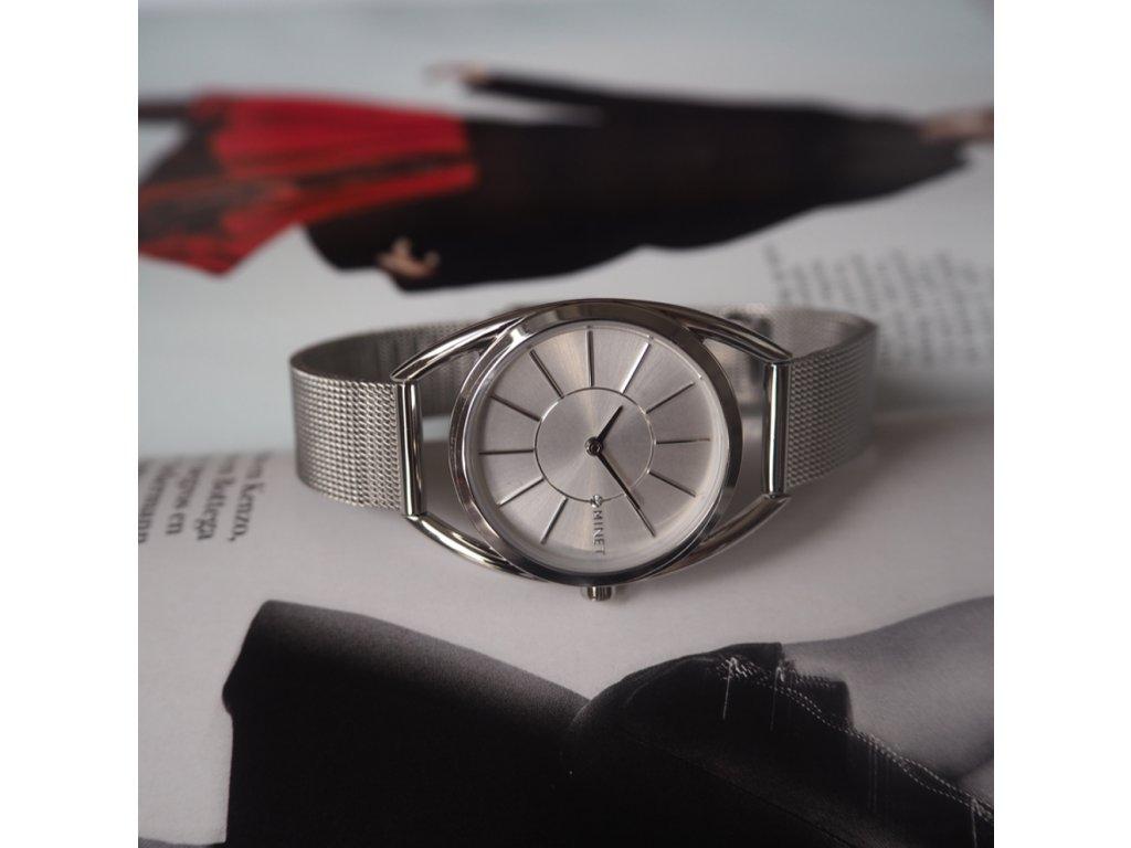 Stříbrné dámské hodinky MINET ICON PURE SILVER MESH