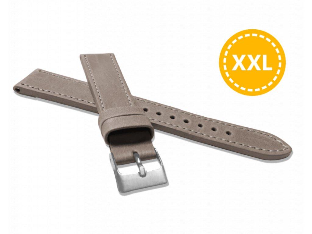 XXL Prodloužený prošitý béžový řemínek LAVVU SPORT z luxusní kůže Top Grain - 18 XXL