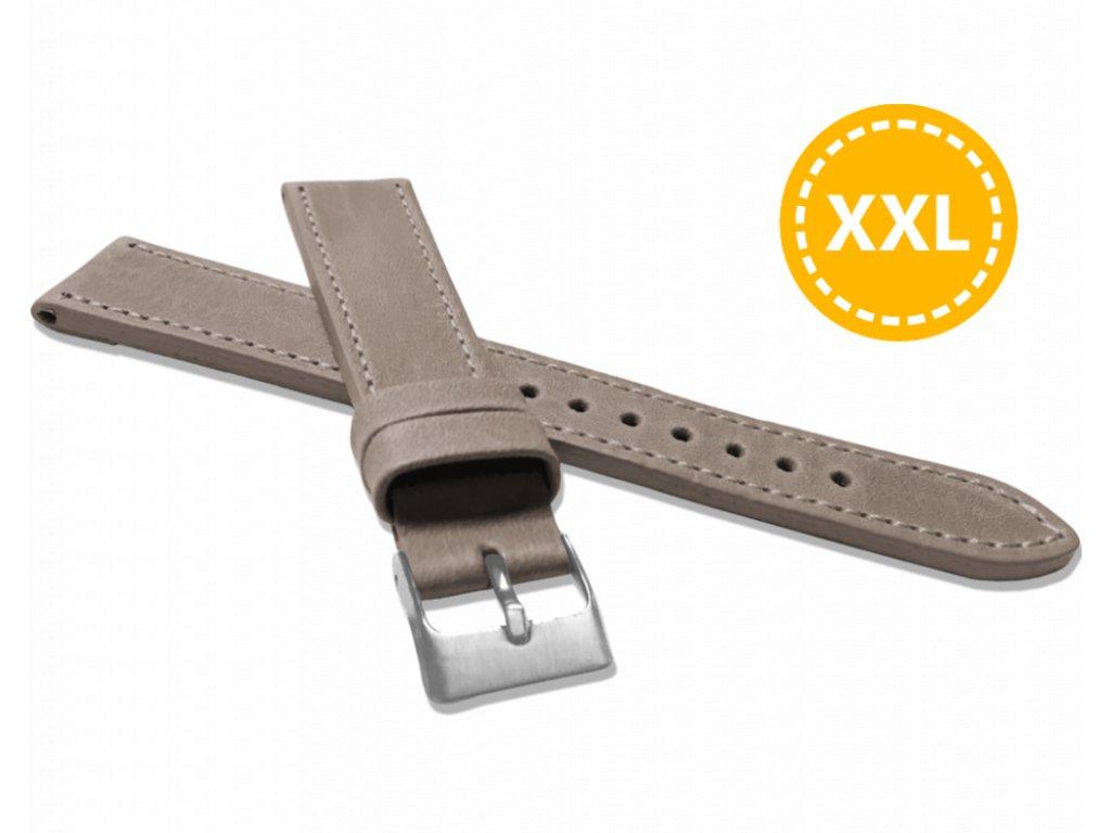 XXL Prodloužený prošitý béžový řemínek LAVVU SPORT z luxusní kůže Top Grain - 20 XXL