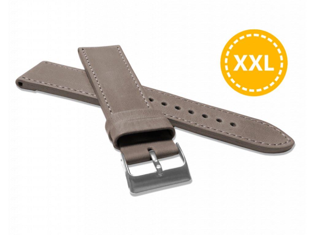 XXL Prodloužený prošitý béžový řemínek LAVVU SPORT z luxusní kůže Top Grain - 22 XXL