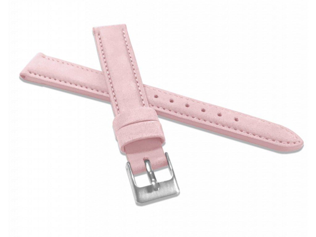 Růžový prošitý kožený řemínek MINET z jemného nubuku - 16