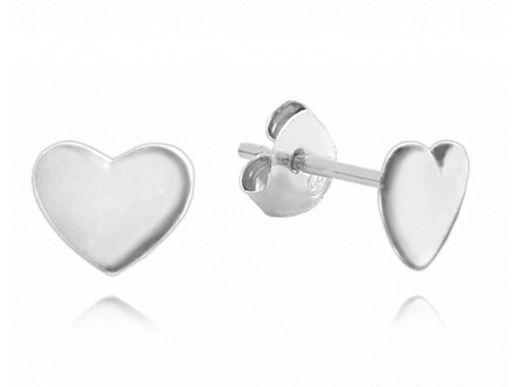 Minimalistické stříbrné náušnice MINET srdíčka