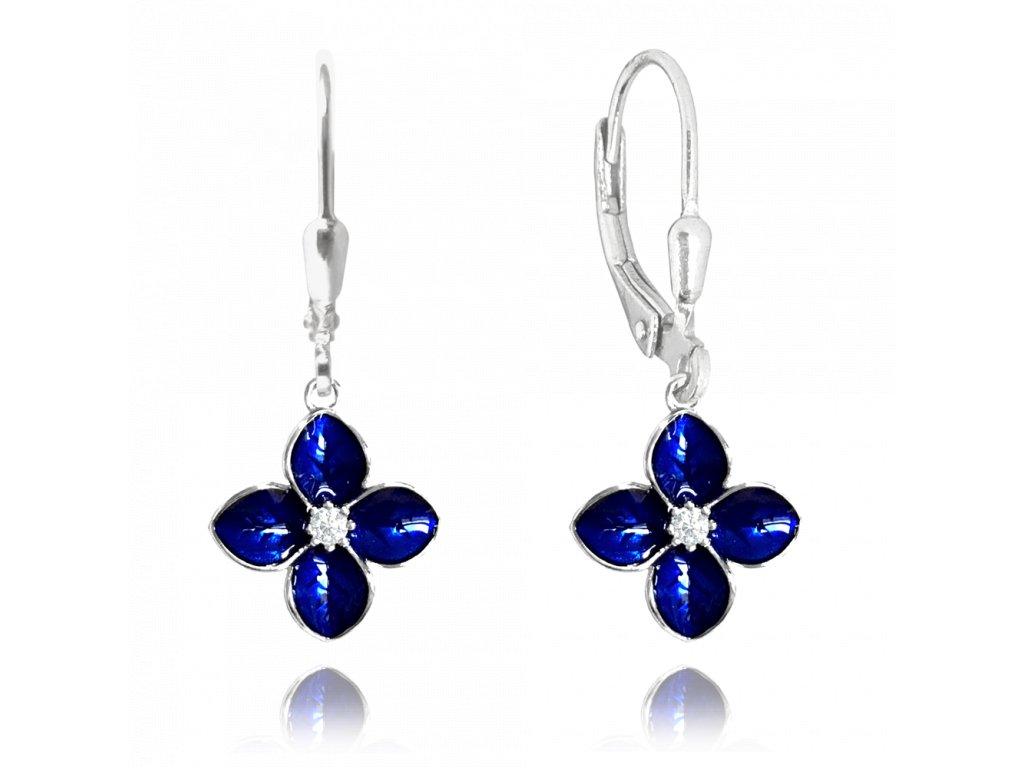 Modré rozkvetlé stříbrné náušnice MINET FLOWERS se zirkony