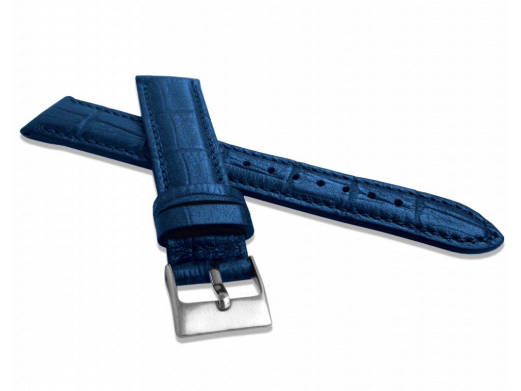 Metalický modrý řemínek LAVVU CROCO METALLIC z luxusní kůže Top Grain - 22