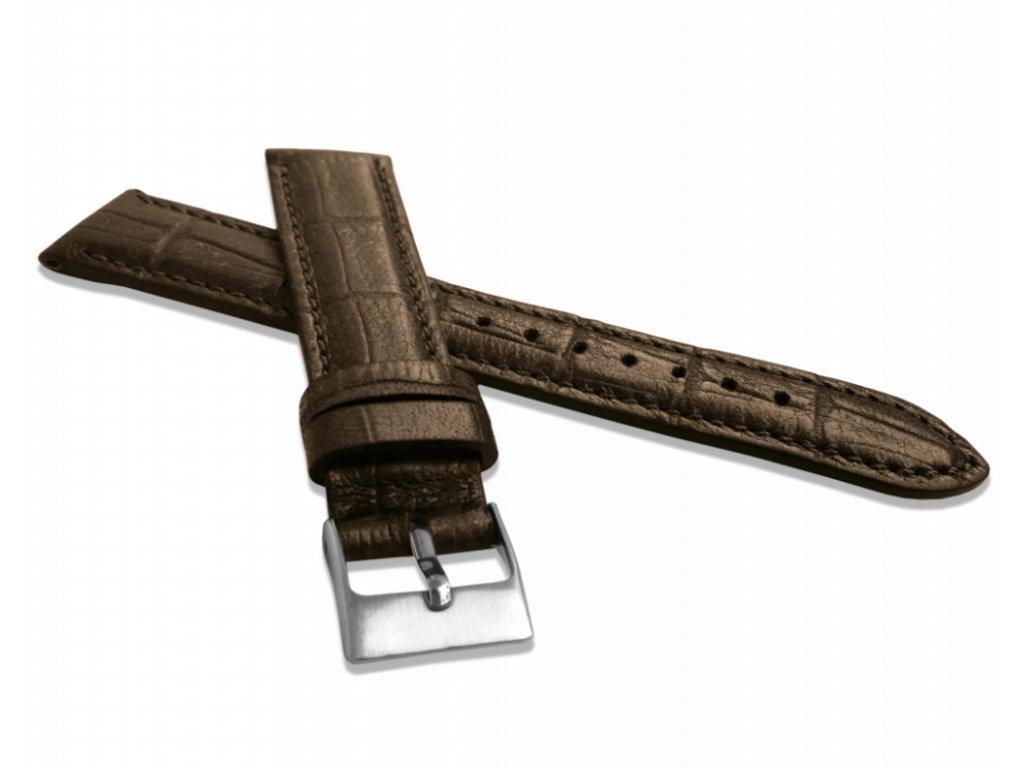 Metalický hnědý řemínek LAVVU CROCO METALLIC z luxusní kůže Top Grain - 22