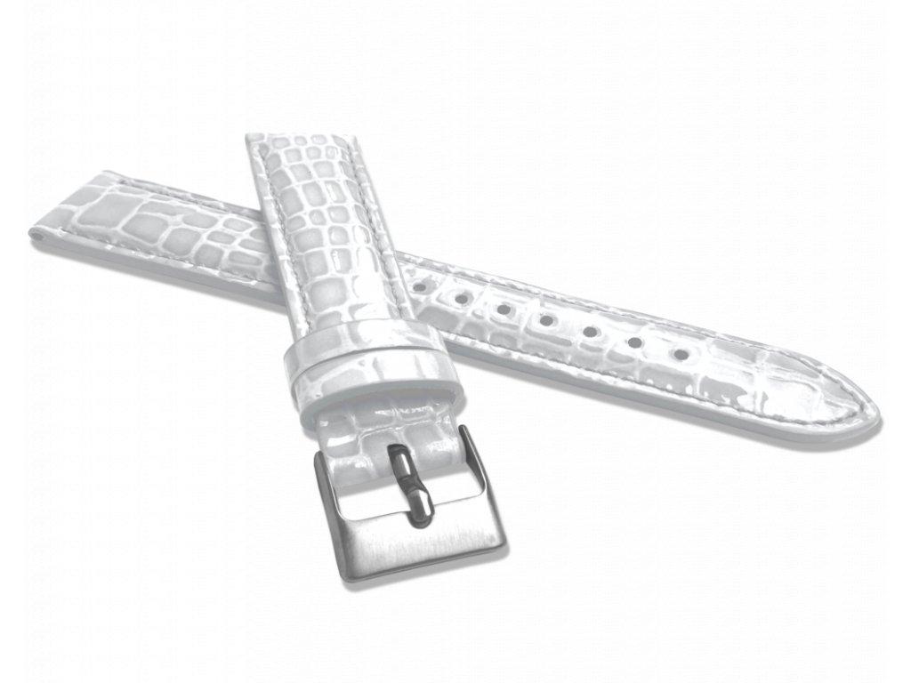 Bílý lesklý kožený řemínek MINET CROCO - 14