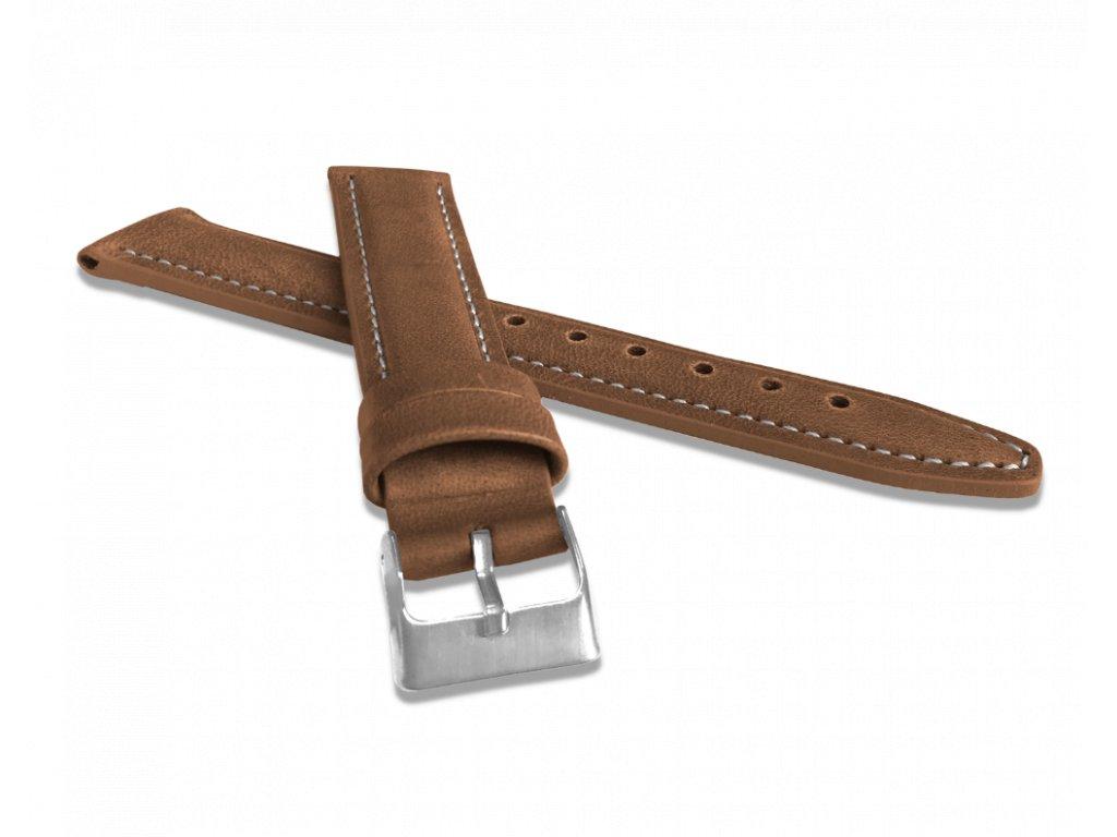 Polstrovaný hnědý prošitý řemínek LAVVU CLASSIC z luxusní kůže Top Grain - 18