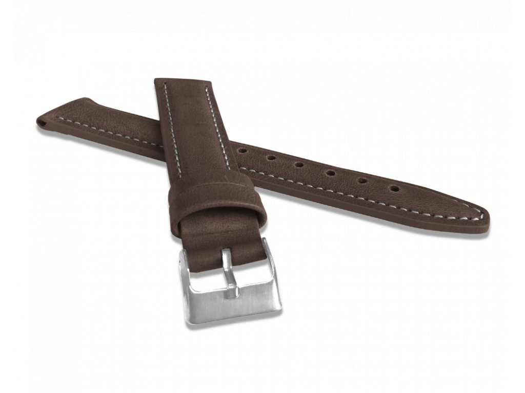 Polstrovaný tmavě hnědý prošitý řemínek LAVVU CLASSIC z luxusní kůže Top Grain - 20