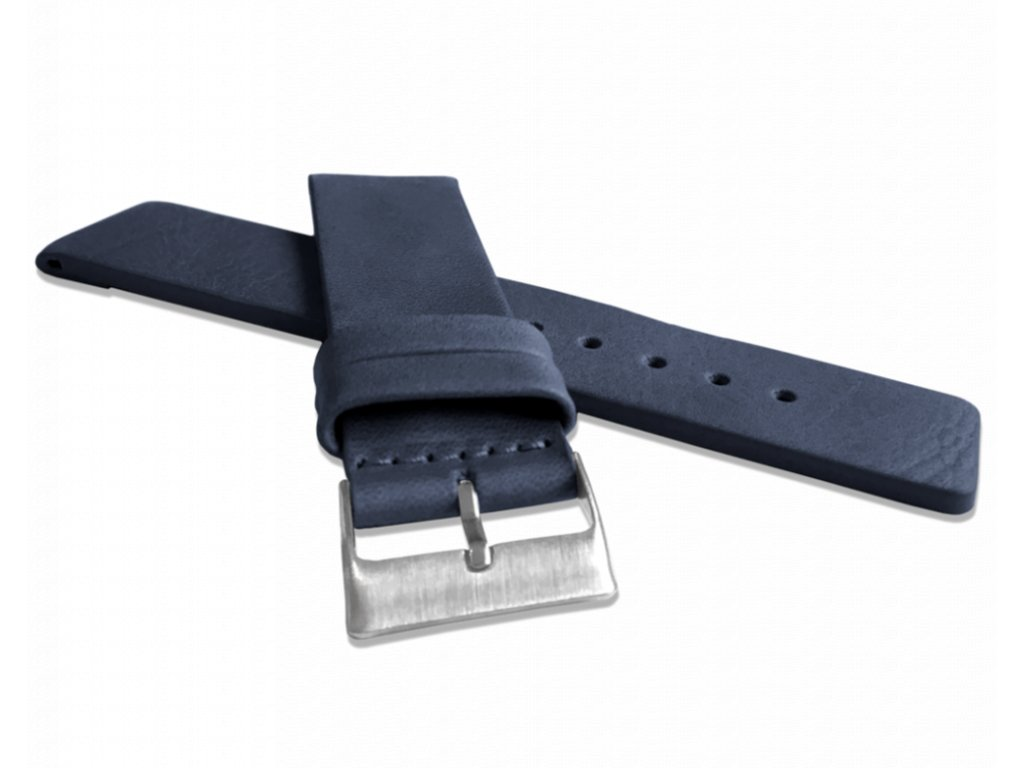 Modrý hladký řemínek LAVVU PLAIN z luxusní kůže Top Grain - 24