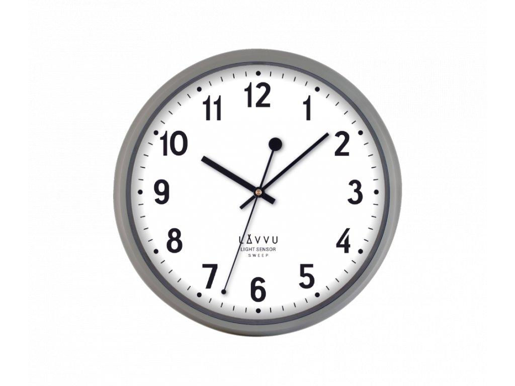 Svítící šedé metalické hodiny LAVVU LIGHT SENSOR Metallic Grey