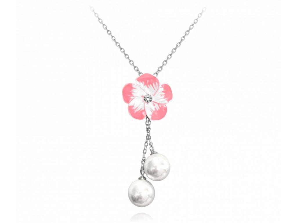 Růžový rozkvetlý stříbrný náhrdelník MINET FLOWERS se zirkonem a perličkami