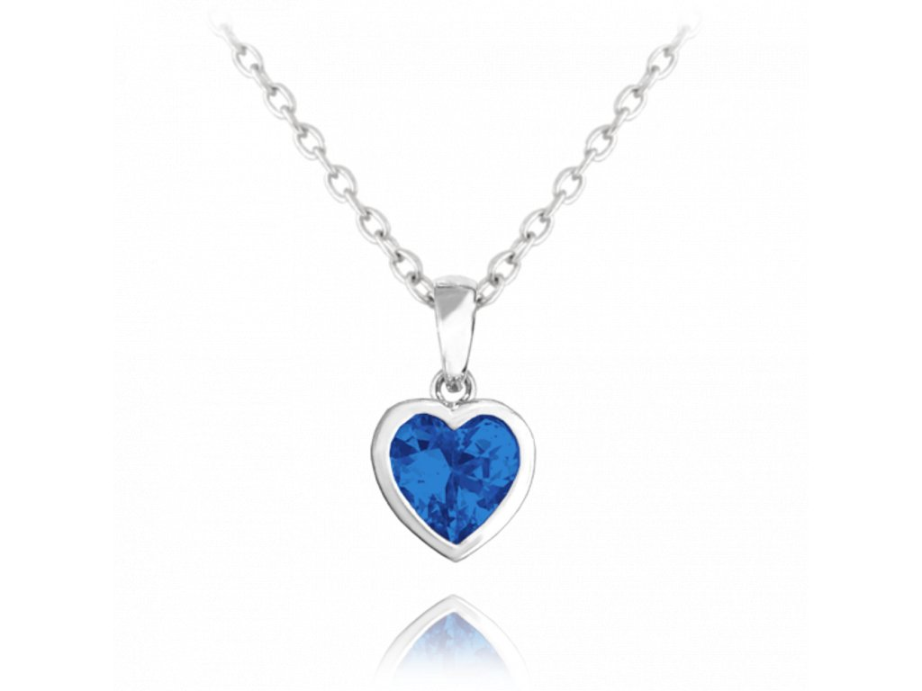 Stříbrný náhrdelník MINET SRDÍČKO s tmavě modrým zirkonem