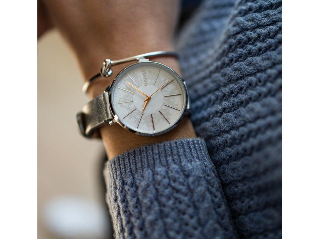 Stříbrné dámské hodinky MINET PRAGUE Silver Flower