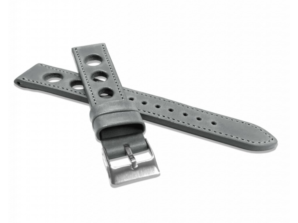Perforovaný šedý prošitý řemínek LAVVU VINTAGE z luxusní kůže Top Grain - 18