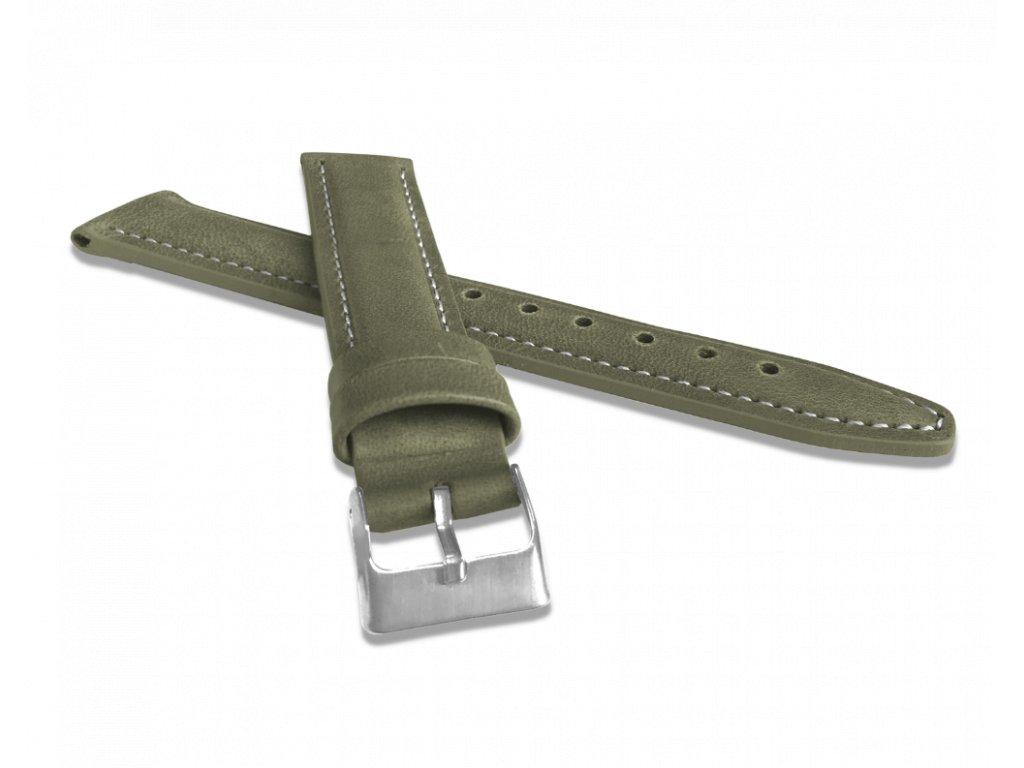 Polstrovaný olivově zelený prošitý řemínek LAVVU CLASSIC z luxusní kůže Top Grain - 20