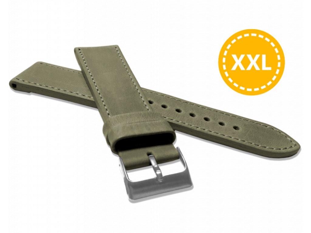 XXL Prodloužený prošitý olivově zelený řemínek LAVVU SPORT z luxusní kůže Top Grain - 24 XXL