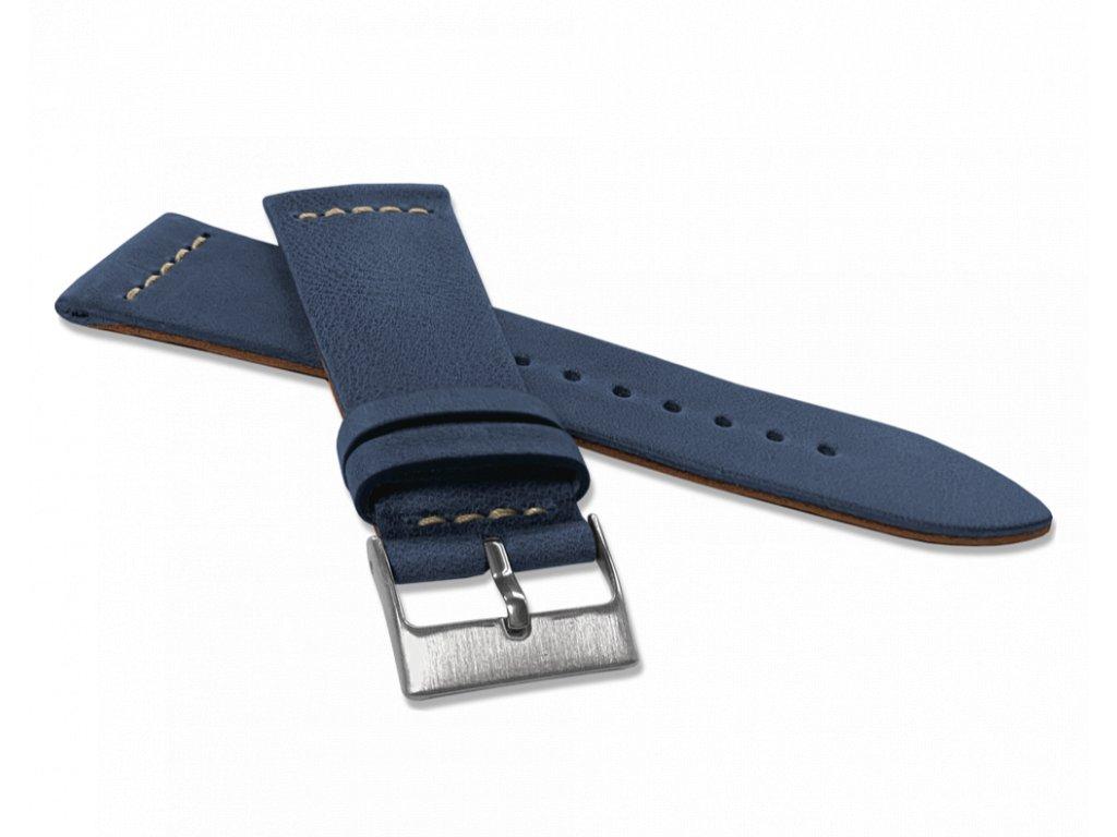 Modrý zúžený řemínek LAVVU RETRO z luxusní kuže Top Grain - 22