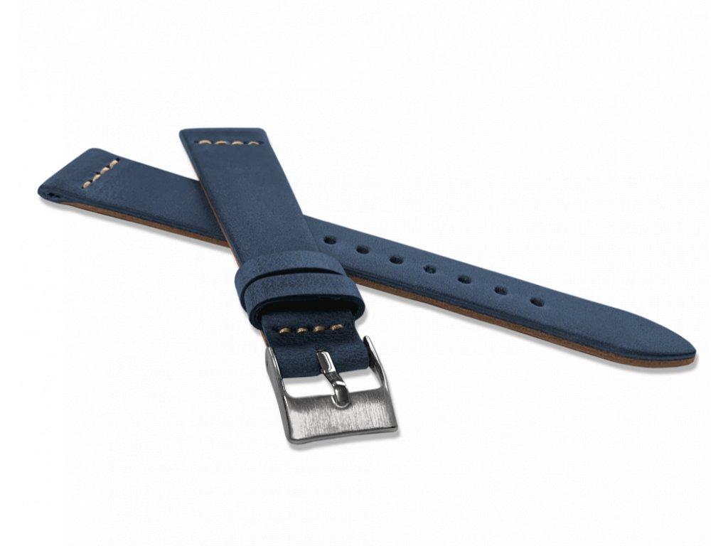 Modrý zúžený řemínek LAVVU RETRO z luxusní kuže Top Grain - 18