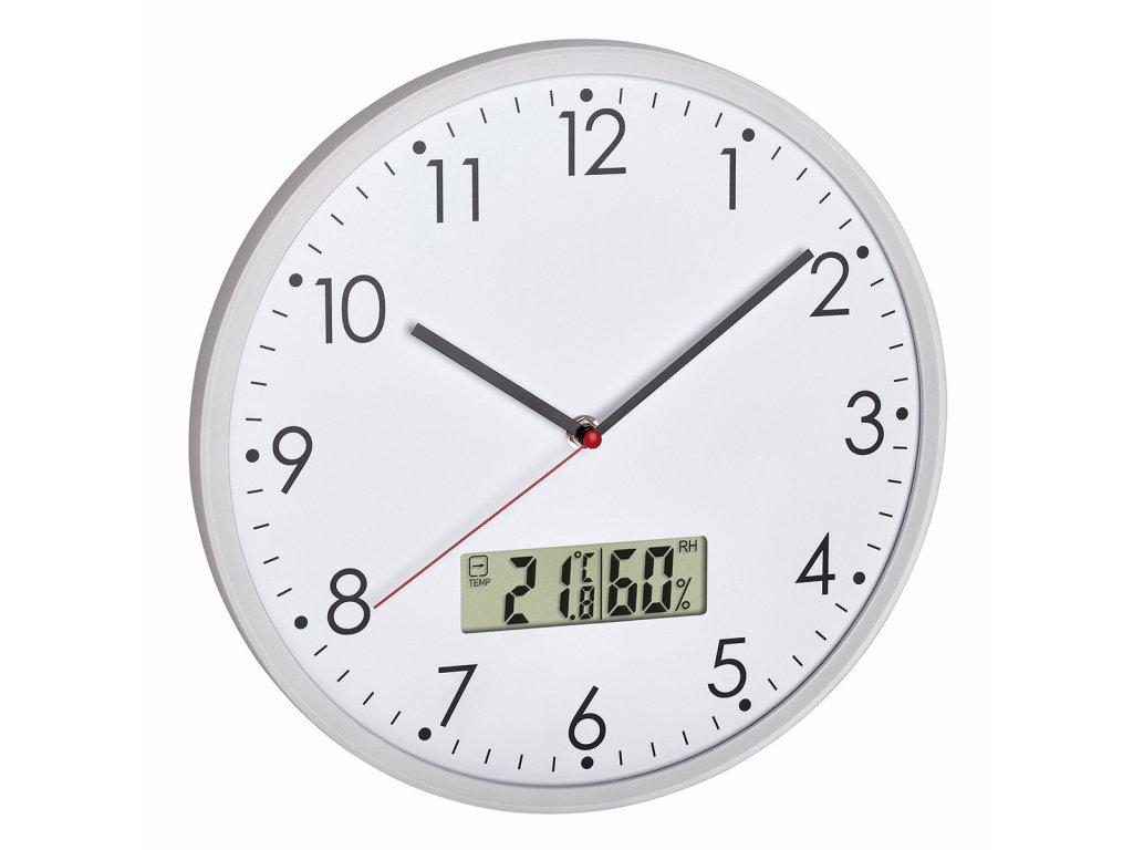 Analogové nástěnné hodiny s digitálním teploměrem a vlhkoměrem TFA 60.3048.02