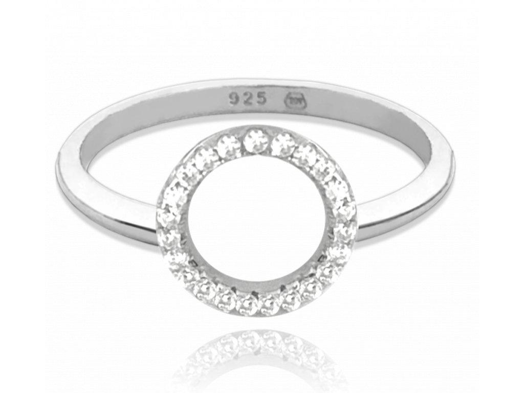 Stříbrný prsten MINET KROUŽEK s bílými zirkony vel. 51