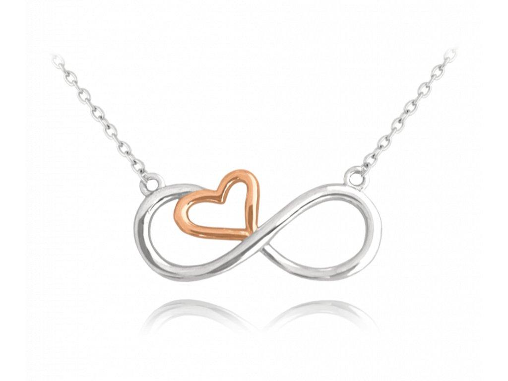 Rose gold stříbrný náhrdelník MINET FOREVER LOVE