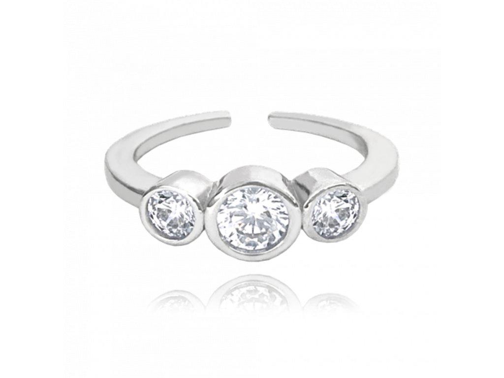 Nastavitelný stříbrný prsten MINET se zirkony na nohu vel. 41