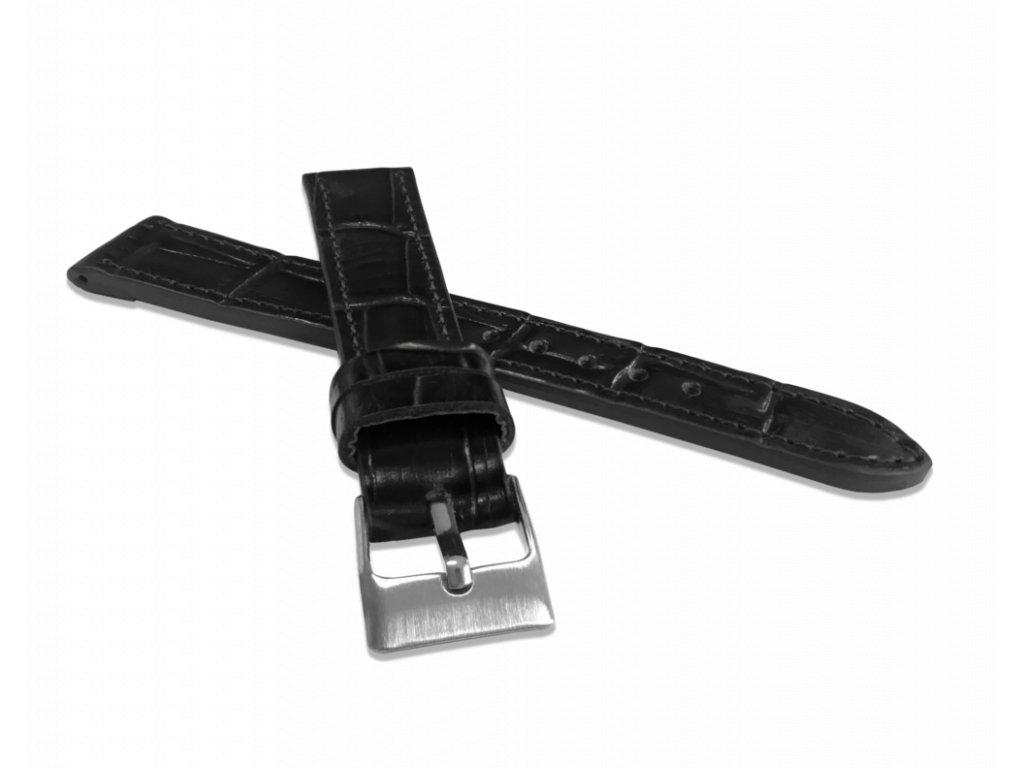 Černý prošitý řemínek LAVVU CROCO z luxusní kuže Top Grain - 16