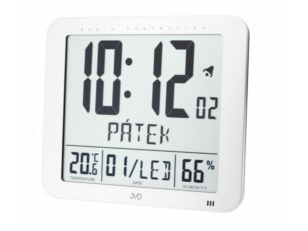 Rádiem řízené digitální hodiny  s budíkem JVD stříbrné DH9335.1