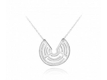 Geometrický stříbrný náhrdelník MINET LABYRINT