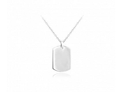 Stříbrný náhrdelník MINET ENGRAVE - PSÍ ZNÁMKA - destička pro gravírování