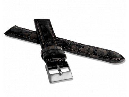 Exkluzivní černohnědý řemínek LAVVU CROCO TAVIR z luxusní kůže Top Grain - 18