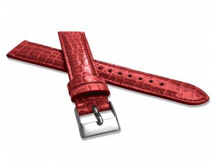 Červený lesklý kožený řemínek MINET CROCO - 16