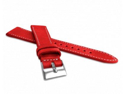 Přírodně barvený červený řemínek LAVVU NATURE z kůže Top Grain - 20