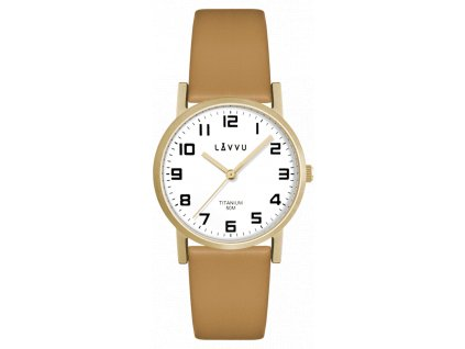 Zlaté dámské titanové hodinky LAVVU MANDAL