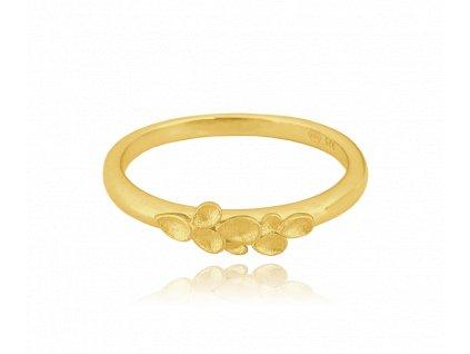 Matný pozlacený stříbrný prsten MINET EUCALYPTUS vel. 50