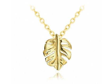 Pozlacený stříbrný náhrdelník MINET MONSTERA