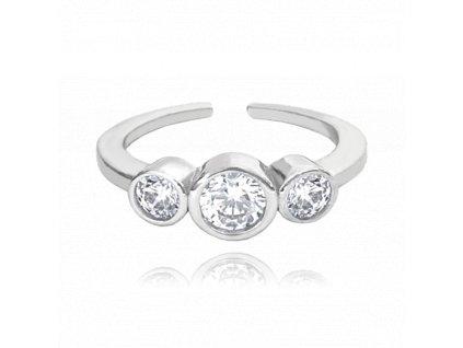Nastavitelný stříbrný prsten MINET se zirkony na nohu vel. 39