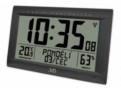 Rádiem řízené digitální hodiny  s budíkem JVD černé RB9075.1