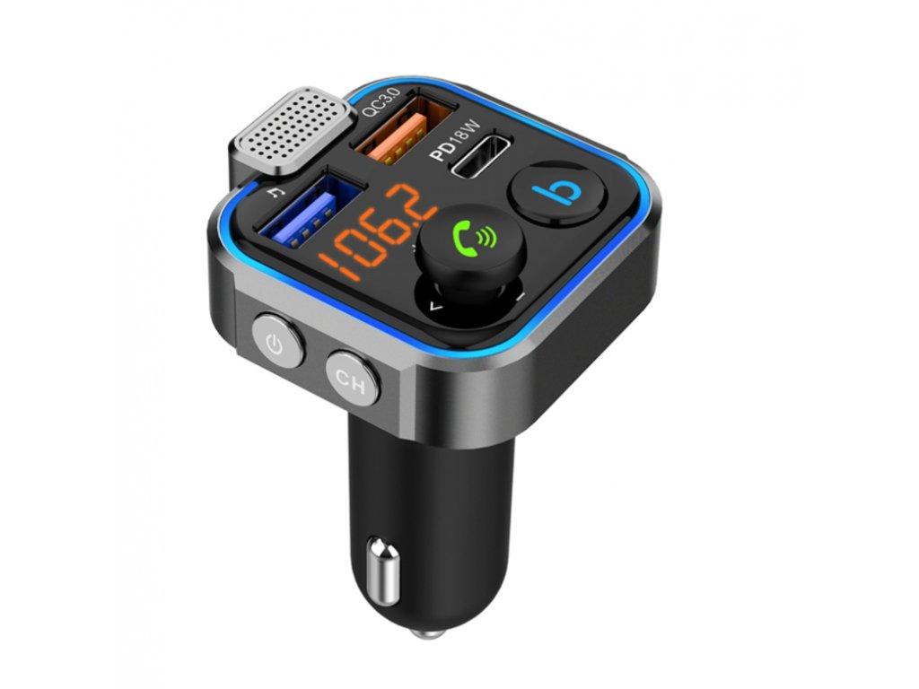 Bluetooth FM transmiter BT23 2xUSB nabíjačka QC 3.0 TFMBT23