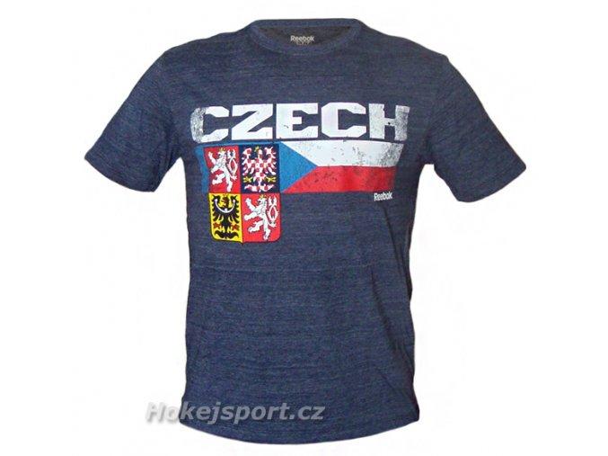 Triko Reebok Team Stripes CZECH Short Sleeve Tee Navy