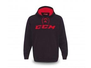 ccm mikina true2hockey fleece pullover hood blkred 1