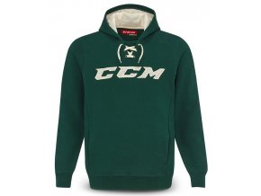ccm mikina true2hockey fleece pullover hood grncrm 1