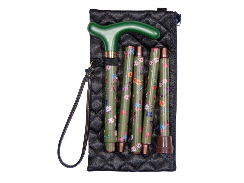 Vycházková hůlka skládací/4811C pětidílná zelená
