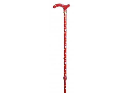 Hůl vycházková/4099E červený květ
