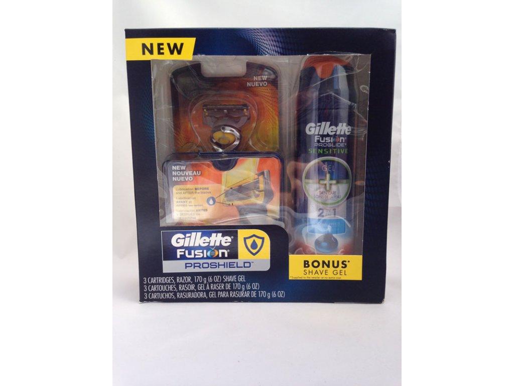Gillette Fusion Proglide Proshield FLEXBALL strojek + celkem 3ks hlavice + gel