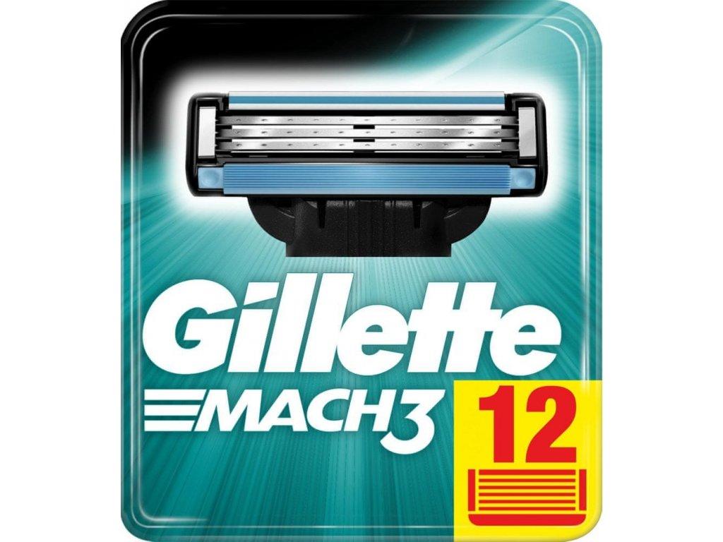 GILLETTE MACH3 náhradní pánské žiletky hlavice (12 ks v balení)