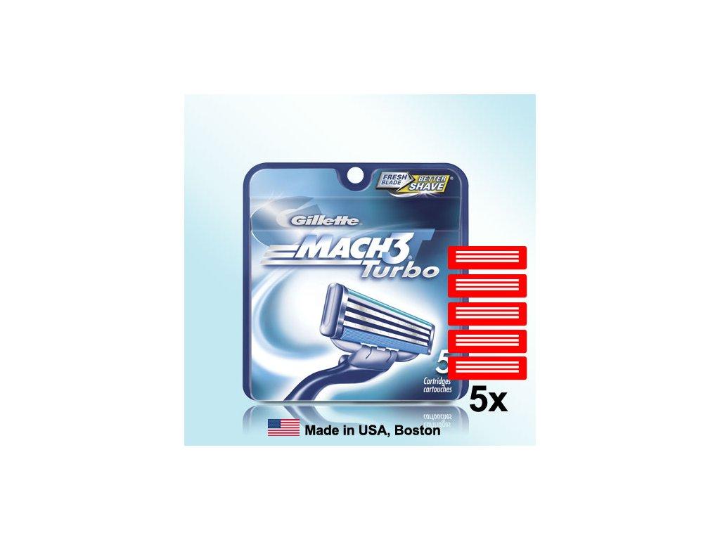 GILLETTE MACH3 TURBO náhradní pánské žiletky hlavice (5 ks v balení)  ®