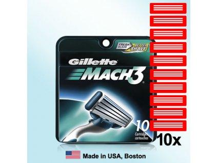 GILLETTE MACH3 náhradní pánské žiletky hlavice (10 ks v balení)  ® ⚡️- DOVOZ Z USA ✅✅✅