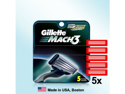 GILLETTE MACH3 náhradní pánské žiletky hlavice (5 ks v balení)  ® ⚡️- DOVOZ Z USA ✅✅✅