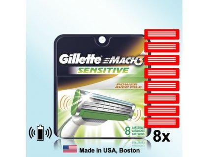 GILLETTE MACH3 SENSITIVE žiletky 8ks náhradní břity  ® ⚡️- DOVOZ Z USA ✅✅✅